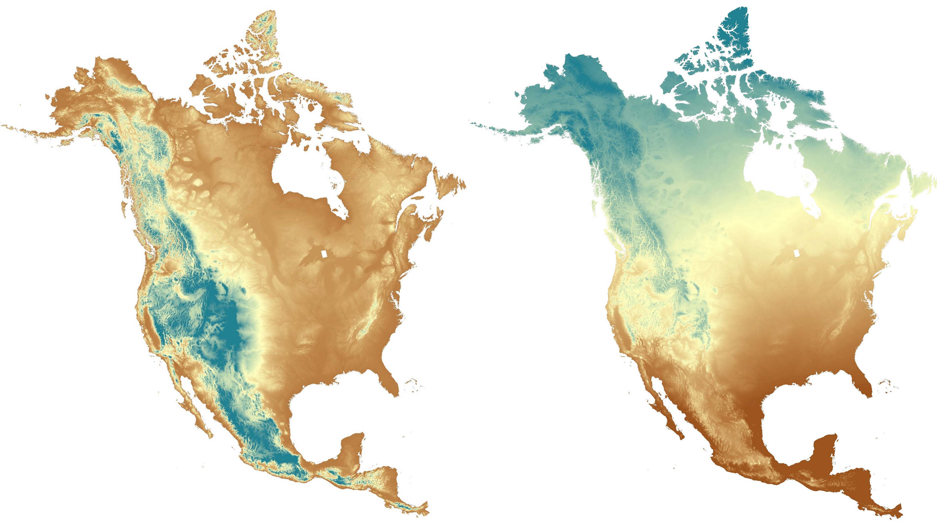 Land Facet Data For North America AdaptWest - North america topographic map